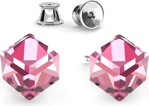 GIORRE SREBRNE KOLCZYKI KOSTKI SWAROVSKI 925 : Kolor kryształu SWAROVSKI - Light Rose, Kolor pokrycia srebra - Pokrycie Jasnym Rodem