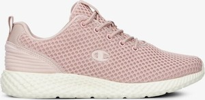 Różowe buty sportowe Champion sznurowane ze skóry z płaską podeszwą