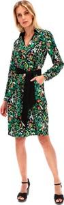Zielona sukienka Lavard z dekoltem w kształcie litery v z tkaniny z długim rękawem