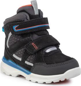 Czarne buty dziecięce zimowe Ecco na rzepy z nubuku