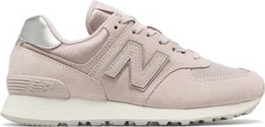 Różowe buty sportowe New Balance ze skóry sznurowane