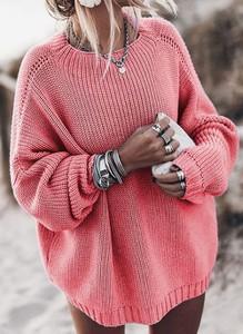 Różowy sweter Cikelly w stylu casual
