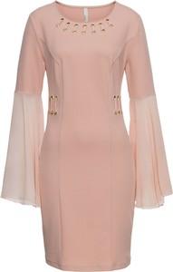 Różowa sukienka bonprix BODYFLIRT boutique mini z długim rękawem