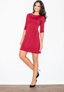 Czerwona sukienka Figl z okrągłym dekoltem mini