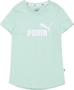 Miętowa bluzka dziecięca Puma z krótkim rękawem z dżerseju