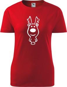 Czerwony t-shirt TopKoszulki.pl z krótkim rękawem w bożonarodzeniowy wzór