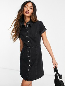 Czarna sukienka Asos w stylu casual z jeansu z krótkim rękawem