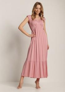 Różowa sukienka Renee maxi z dekoltem w kształcie litery v