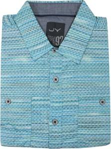 Niebieska koszula Just yuppi z tkaniny