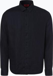 Koszula Hugo Boss z klasycznym kołnierzykiem z lnu z długim rękawem