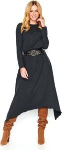 Sukienka Makadamia z okrągłym dekoltem z bawełny z długim rękawem