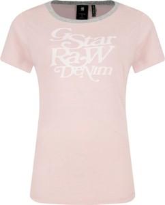 Różowy t-shirt G-Star Raw z krótkim rękawem w stylu casual