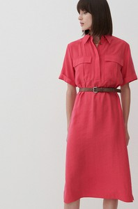 Sukienka Reserved midi w stylu casual z kołnierzykiem