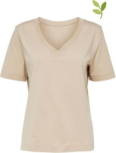 T-shirt Selected Femme z dekoltem w kształcie litery v z bawełny