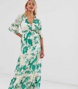 Sukienka Hope & Ivy Maternity z dekoltem w kształcie litery v z długim rękawem w stylu boho