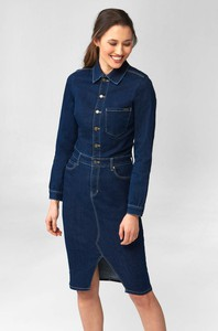 Niebieska sukienka ORSAY koszulowa w stylu casual z jeansu