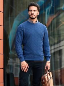 Niebieski sweter M. Lasota w stylu casual z okrągłym dekoltem z bawełny