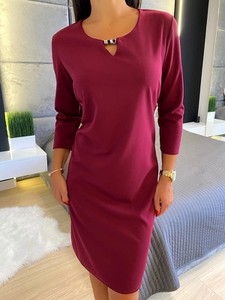 Czerwona sukienka ModnaKiecka.pl w stylu casual z długim rękawem