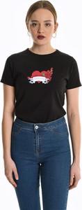 Czarny t-shirt Gate w młodzieżowym stylu z okrągłym dekoltem