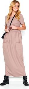 Sukienka Makadamia z dresówki maxi z okrągłym dekoltem