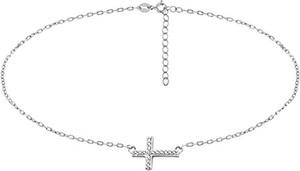 Valerio Delikatny rodowany srebrny naszyjnik gwiazd celebrytka krzyżyk krzyż cross cyrkonie srebro 925 Z1664N