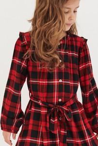 Czerwona sukienka dziewczęca Reserved w krateczkę