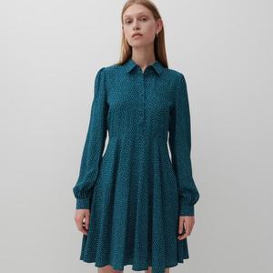 Zielona sukienka Reserved szmizjerka z długim rękawem mini