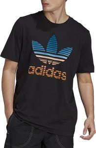 Czarny t-shirt Adidas z krótkim rękawem w sportowym stylu z nadrukiem