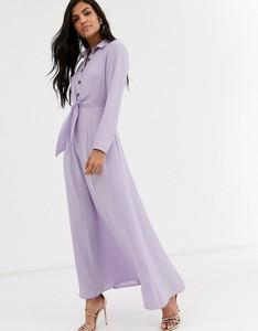 Fioletowa sukienka Asos Design z długim rękawem koszulowa