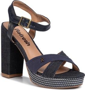 Granatowe sandały Refresh na wysokim obcasie