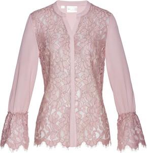 Różowa bluzka bonprix bpc selection premium z dekoltem w kształcie litery v z długim rękawem