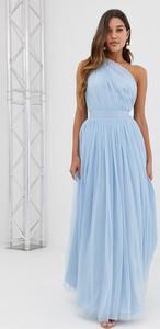 Niebieska sukienka Asos Design z tiulu bez rękawów