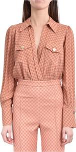 Różowa koszula Elisabetta Franchi z kołnierzykiem w stylu casual z długim rękawem