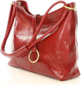 Czerwona torebka MAZZINI ze skóry średnia na ramię