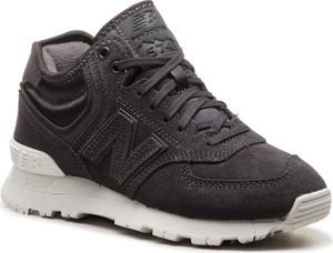 Granatowe buty sportowe New Balance ze skóry sznurowane