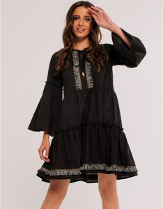 Sukienka Milena Płatek z okrągłym dekoltem z długim rękawem