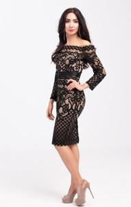 Sukienka Butik Ecru z długim rękawem