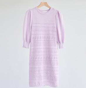 Fioletowa sukienka Reserved z długim rękawem z okrągłym dekoltem