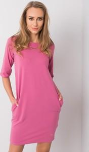 Różowa sukienka Sheandher.pl z długim rękawem w stylu casual mini