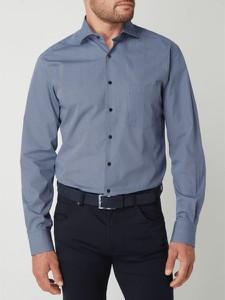 Niebieska koszula Eterna z bawełny z klasycznym kołnierzykiem z długim rękawem