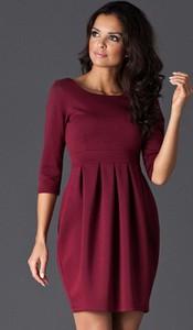 Czerwona sukienka Figl bombka mini z długim rękawem