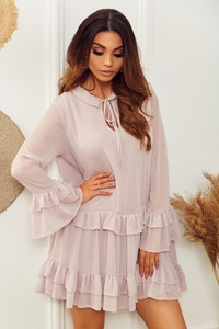 Różowa sukienka Promese z długim rękawem