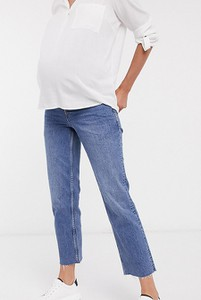ASOS DESIGN Maternity – Niebieskie jeansy z wysokim stanem, rozszerzanymi nogawkami o krótszej długości i ściągaczem