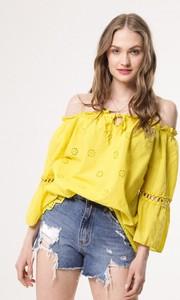 Żółta bluzka born2be hiszpanka z długim rękawem