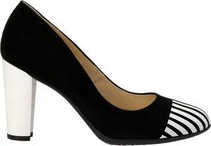 Czarno-białe czółenka damskie marco
