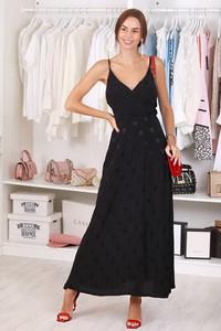Czarna sukienka IVET z dekoltem w kształcie litery v maxi