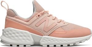 Różowe buty sportowe New Balance z płaską podeszwą sznurowane