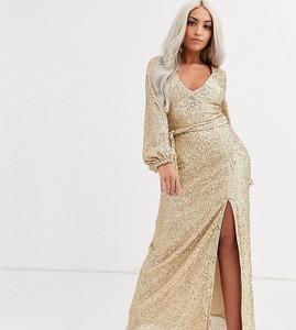 Złota sukienka Club L London Petite z dekoltem w kształcie litery v