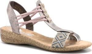 Sandały Rieker z płaską podeszwą w stylu casual na niskim obcasie