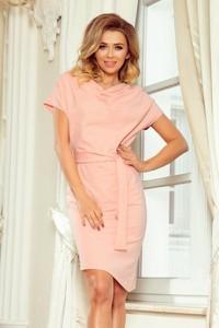 Różowa sukienka NUMOCO z krótkim rękawem